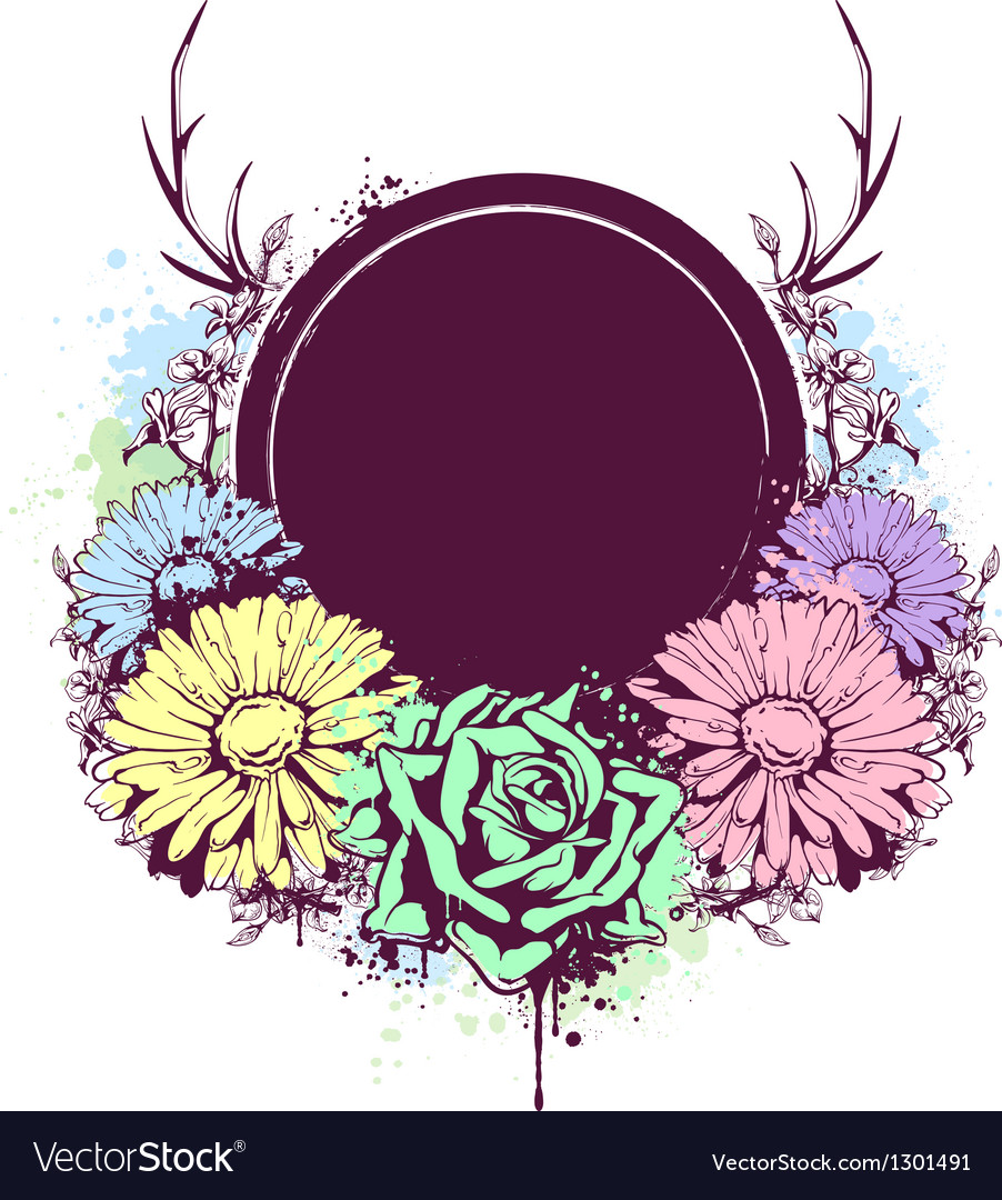 Grunge flowers banner 1 vector | Price: 1 Credit (USD $1)