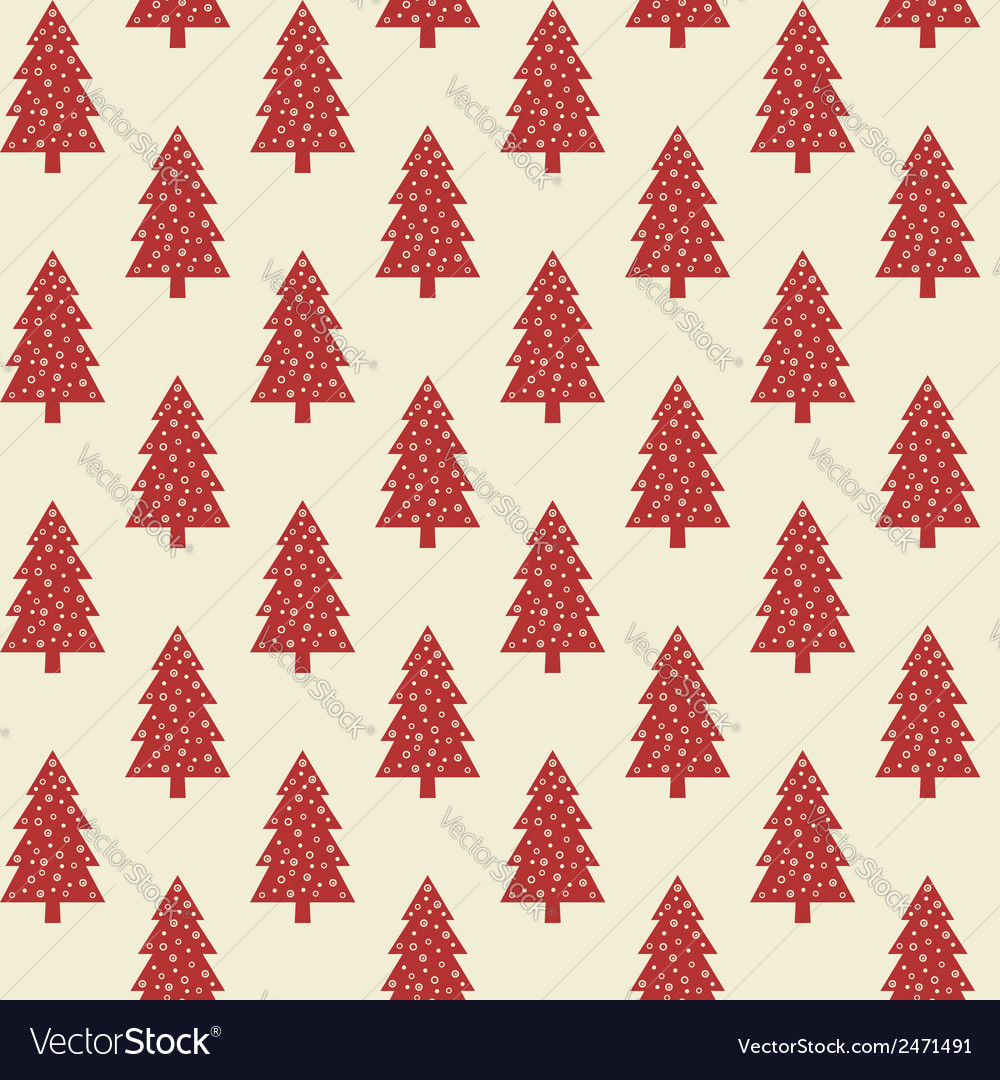 Seamless pattern with red christmas trees vector | Price: 1 Credit (USD $1)