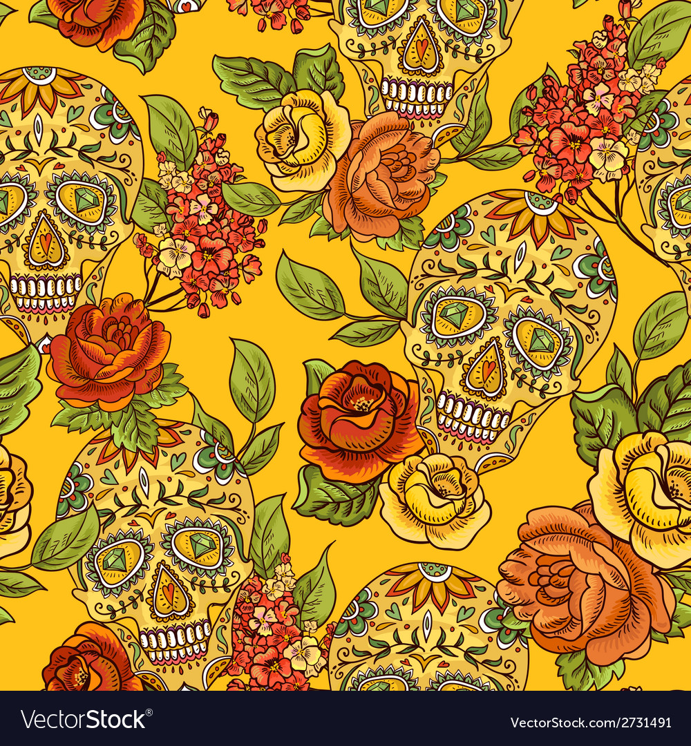 Skull diamond and flowers seamless background vector | Price: 1 Credit (USD $1)
