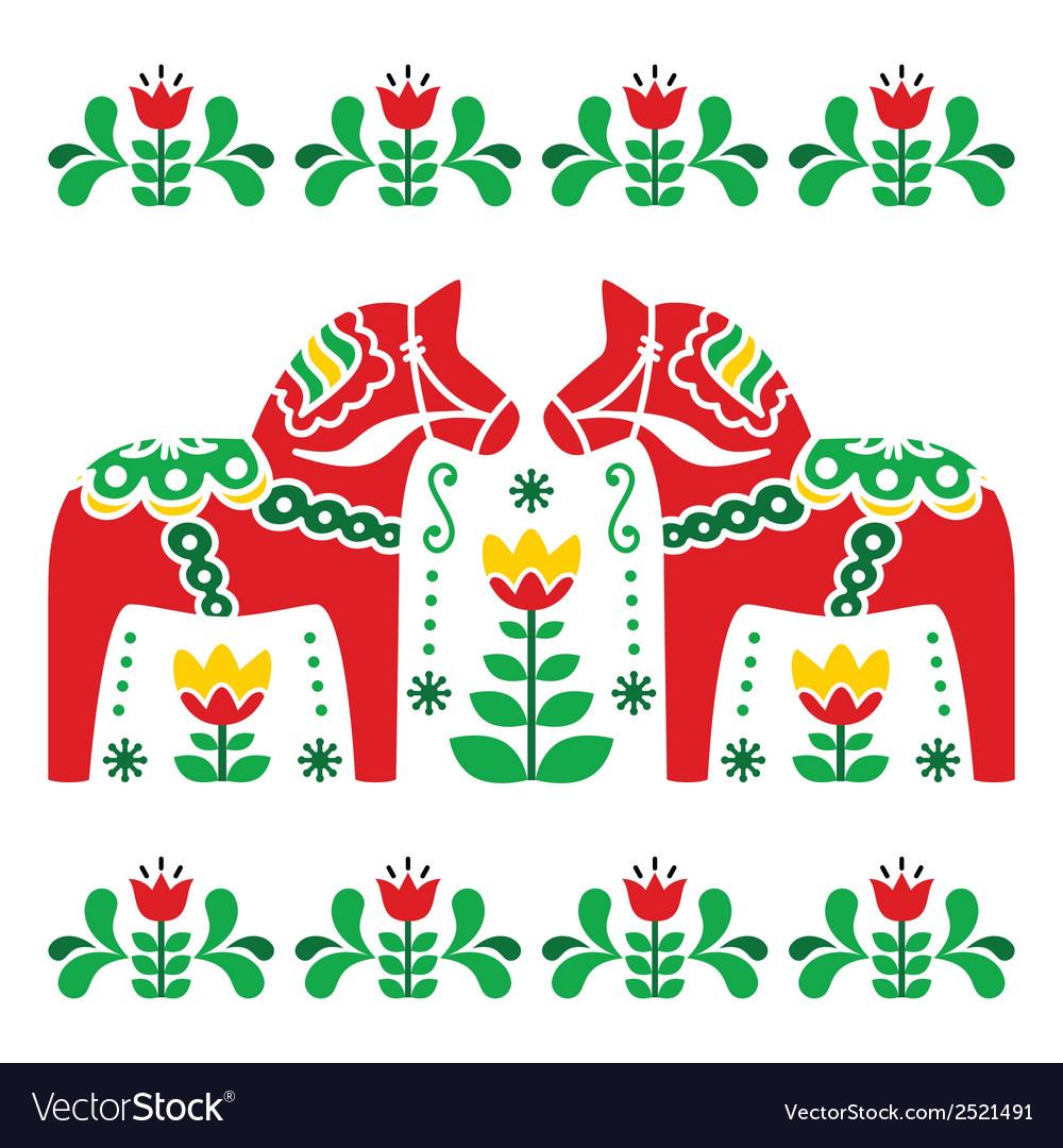 Swedish dala or daleclarian horse folk art pattern vector | Price: 1 Credit (USD $1)