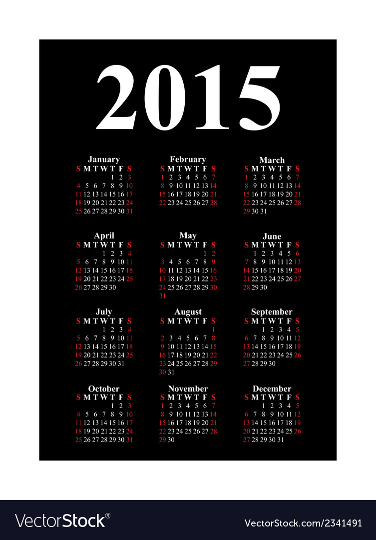 Vertical calendar for 2015 vector | Price: 1 Credit (USD $1)