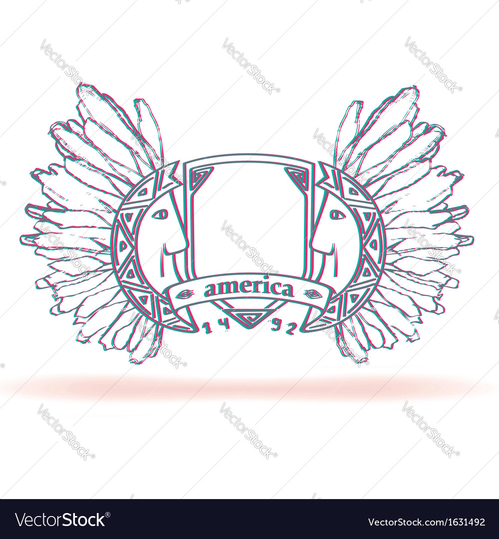American emblem with the apaches and effect anagly vector | Price: 1 Credit (USD $1)
