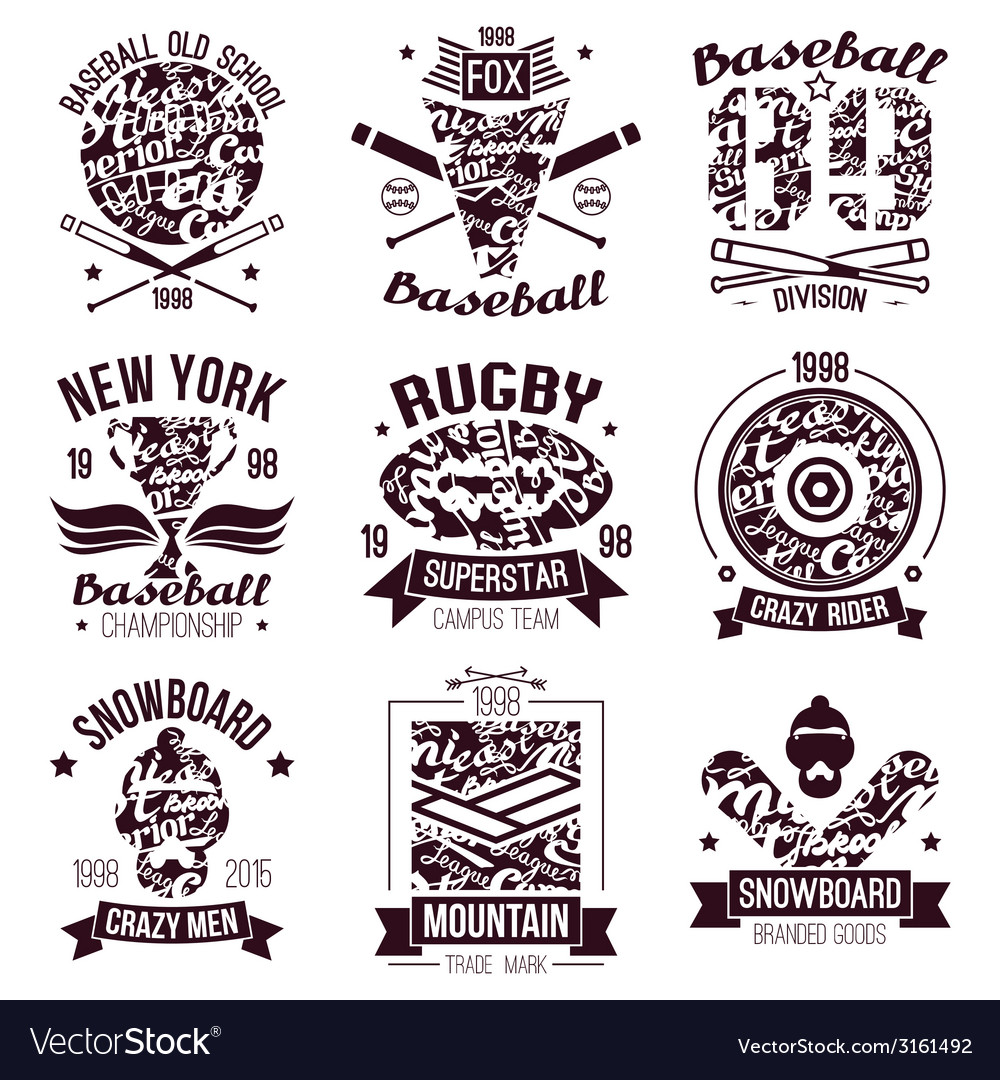 Baseball rugby snowboard skateboard sport emblems vector | Price: 1 Credit (USD $1)