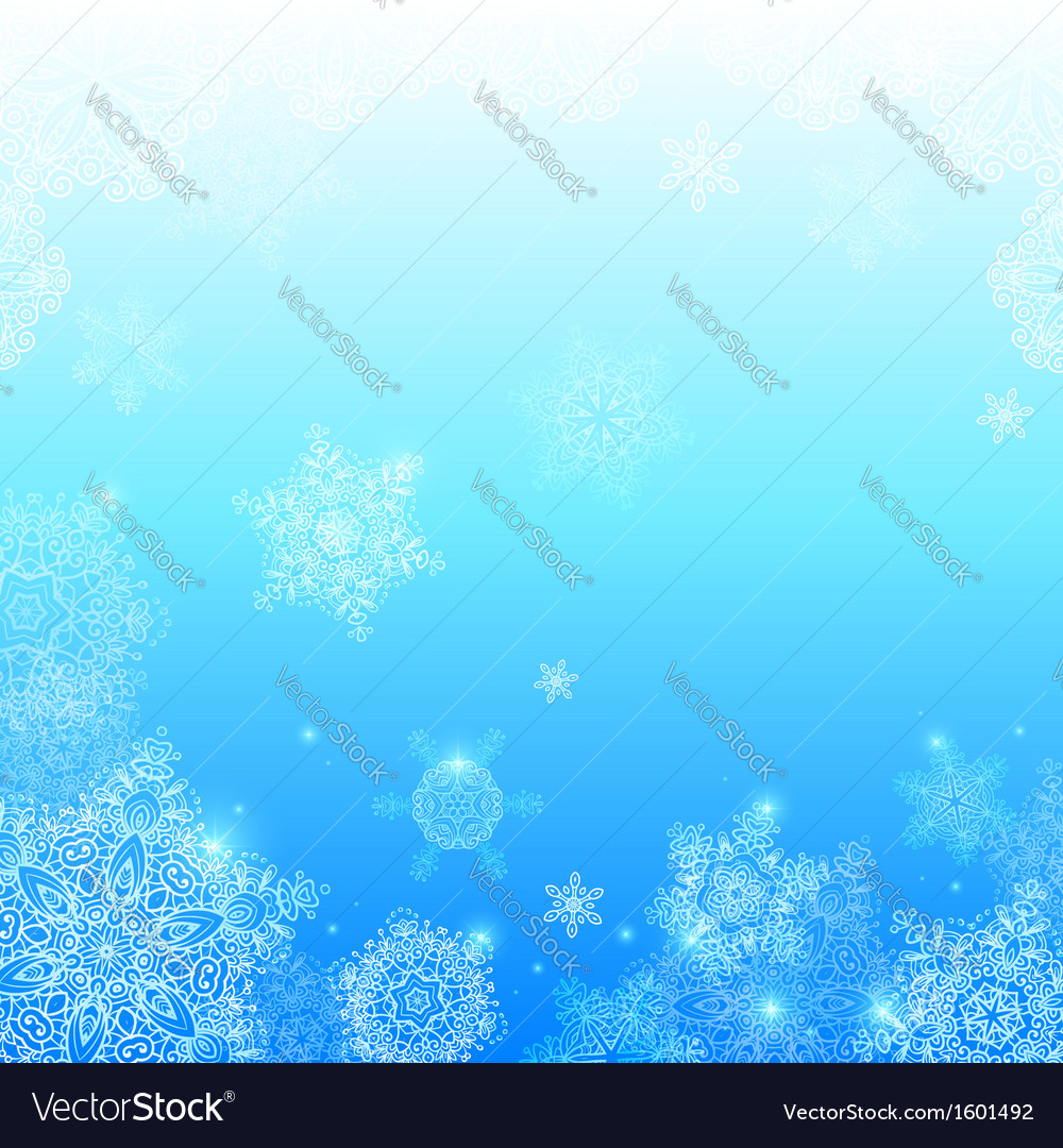 Blue snowflakes light winter background vector | Price: 1 Credit (USD $1)