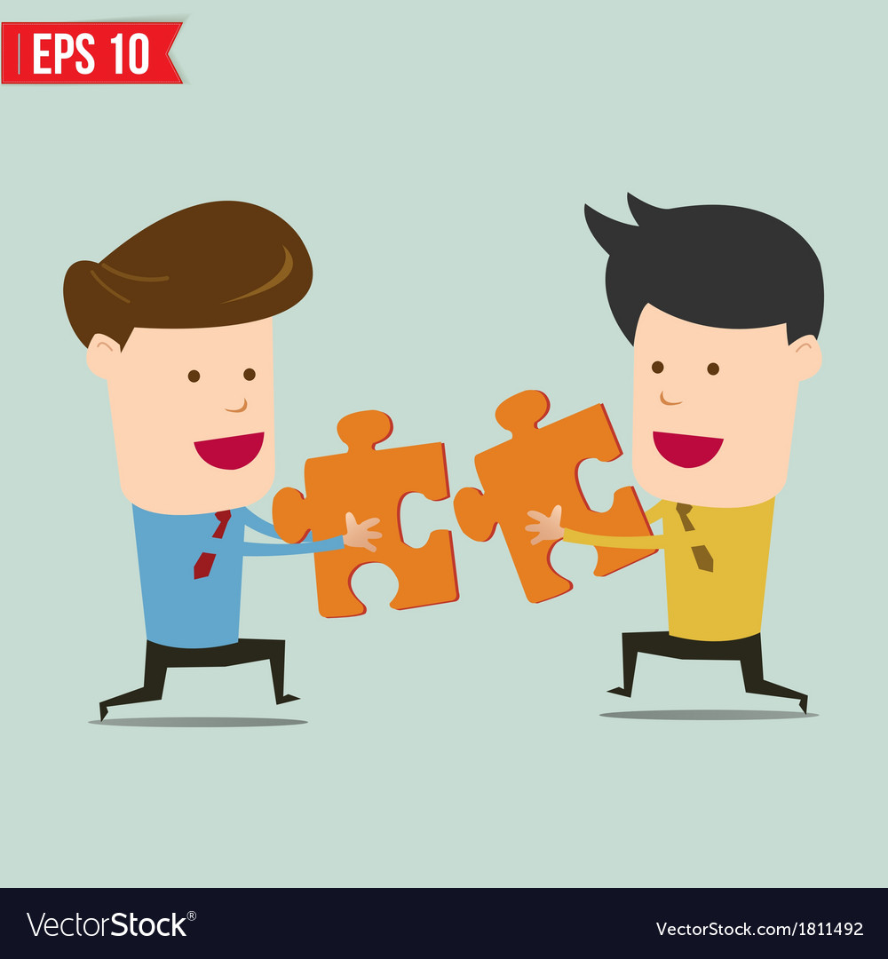 Businessman assembling jigsaw puzzle and represent vector | Price: 1 Credit (USD $1)