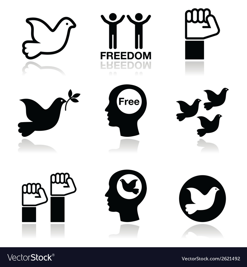 Freedom icons set - dove and fist symbols vector | Price: 1 Credit (USD $1)