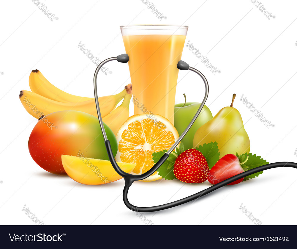 Group of fruit and a stethoscope dieting concept vector | Price: 1 Credit (USD $1)