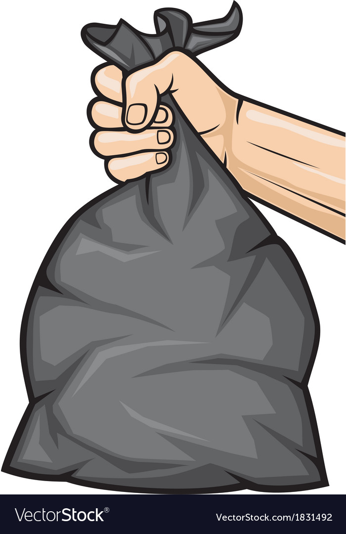 Hand holding black plastic trash bag vector   Price: 1 Credit (USD $1)