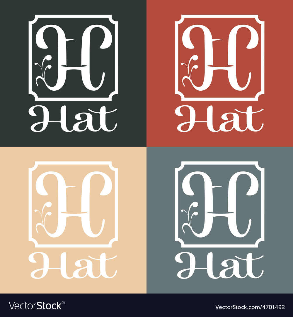 Hat monogram vector | Price: 1 Credit (USD $1)