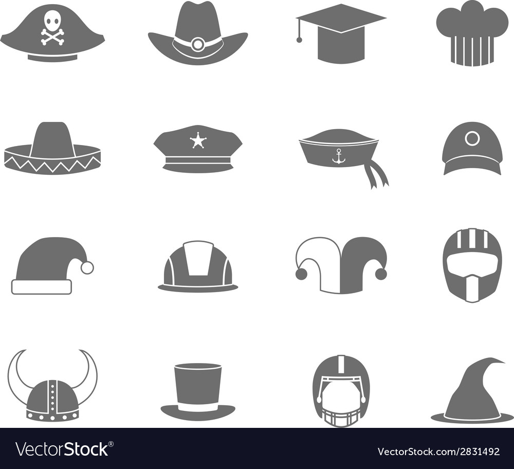 Icons hat set black vector | Price: 1 Credit (USD $1)
