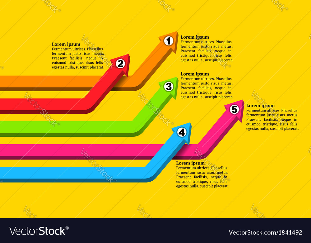 Intersecting colorful numbered graph arrows rising vector | Price: 1 Credit (USD $1)