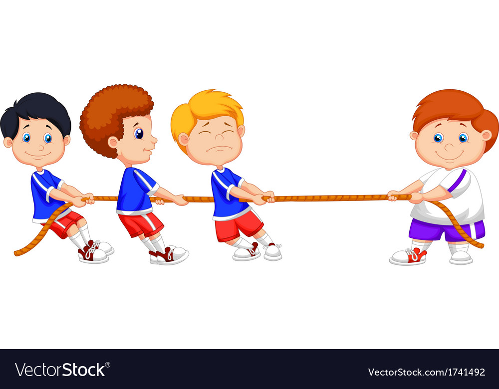 Kids cartoon playing tug of war vector | Price: 1 Credit (USD $1)