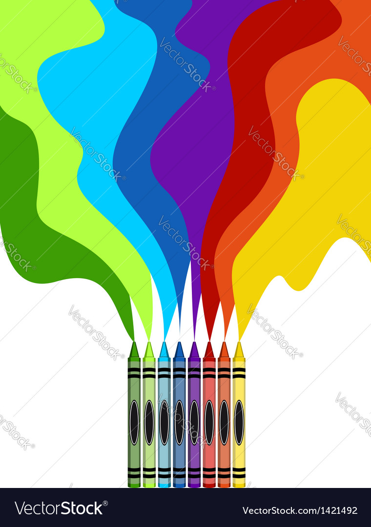 Large colored crayons drawing a rainbow art vector