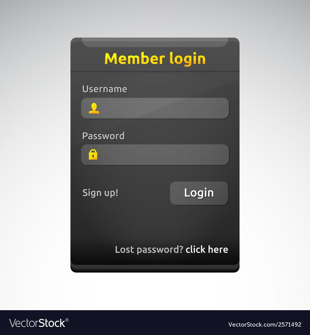 Member login box vector | Price: 1 Credit (USD $1)