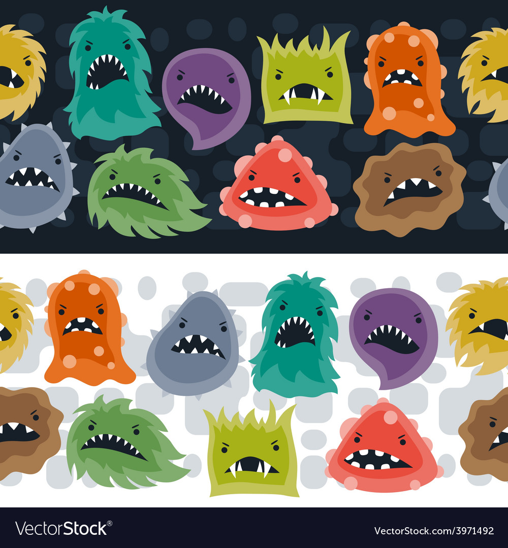 Seamless pattern with little angry viruses and vector | Price: 1 Credit (USD $1)