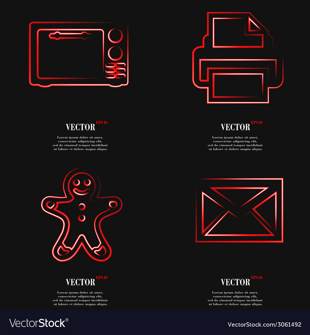 Set of fashionable red icons trending symbols flat vector   Price: 1 Credit (USD $1)