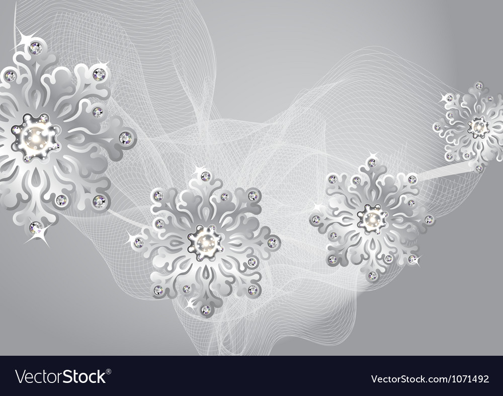 Winter silver background with snowflakes and fog vector | Price: 1 Credit (USD $1)