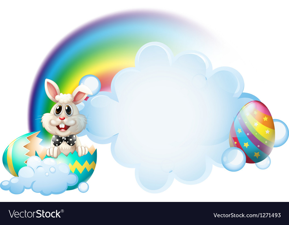 A cracked egg with a bunny near the rainbow vector | Price: 1 Credit (USD $1)