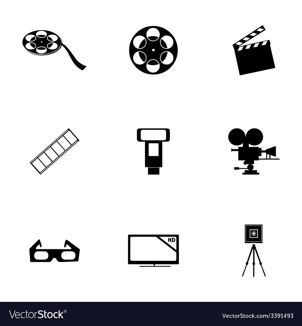 Black cinema icons set vector | Price: 1 Credit (USD $1)