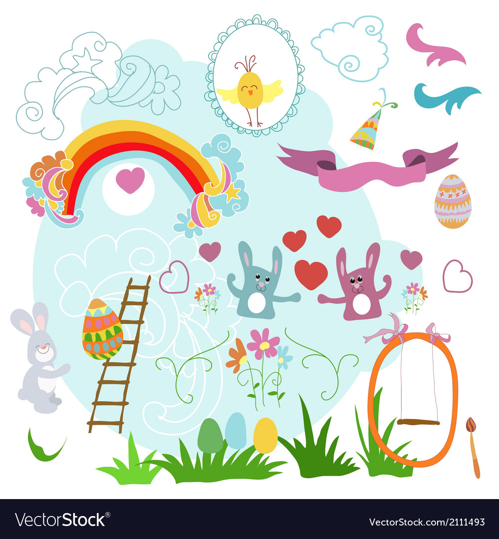 Collection of drawings easter on a white vector | Price: 1 Credit (USD $1)