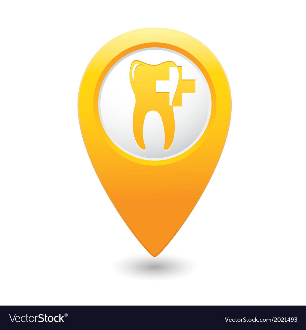 Dental clinic icon pointer yellow vector | Price: 1 Credit (USD $1)