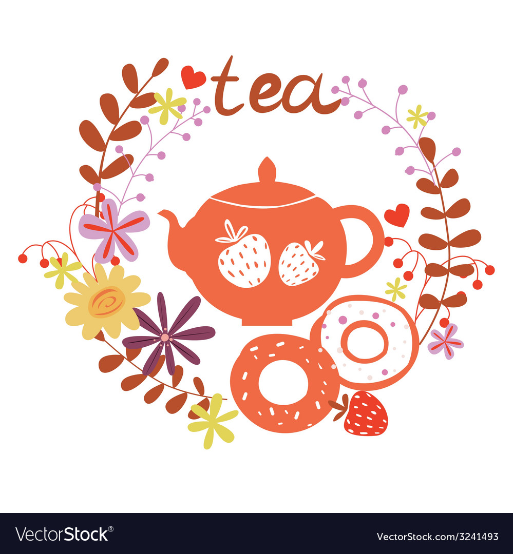 Design with tea pot and sweets vector | Price: 1 Credit (USD $1)