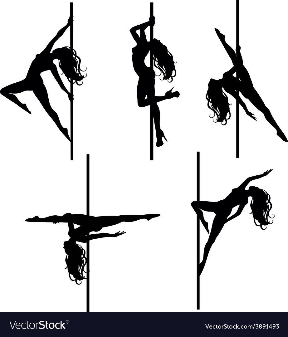 Five pole dancers silhouettes vector | Price: 1 Credit (USD $1)