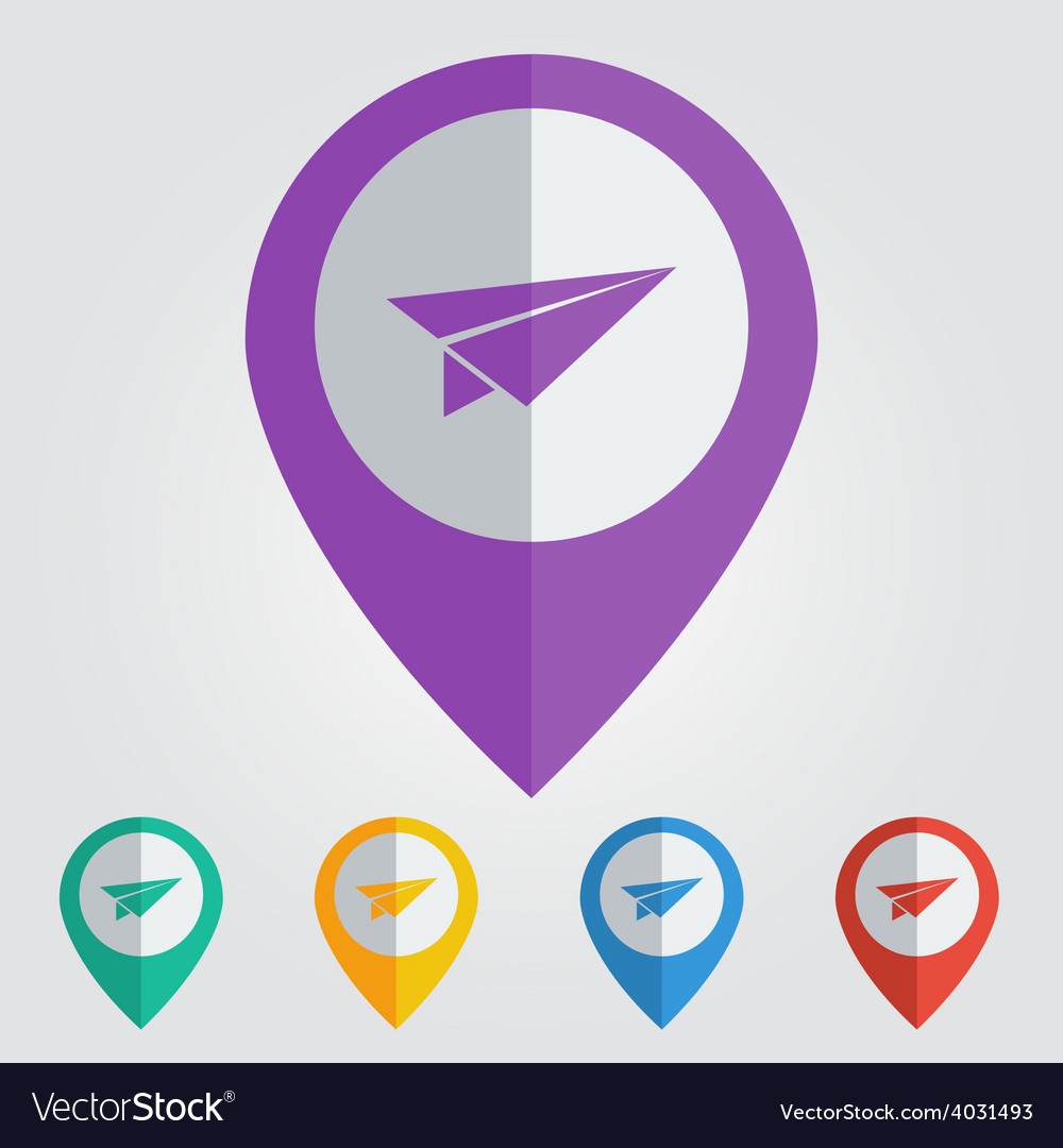 Flat color pins with paper plane icon vector   Price: 1 Credit (USD $1)