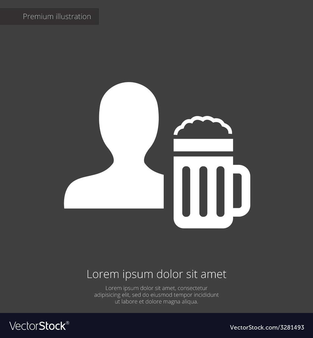 Man with beer glass premium icon white on dark bac vector | Price: 1 Credit (USD $1)