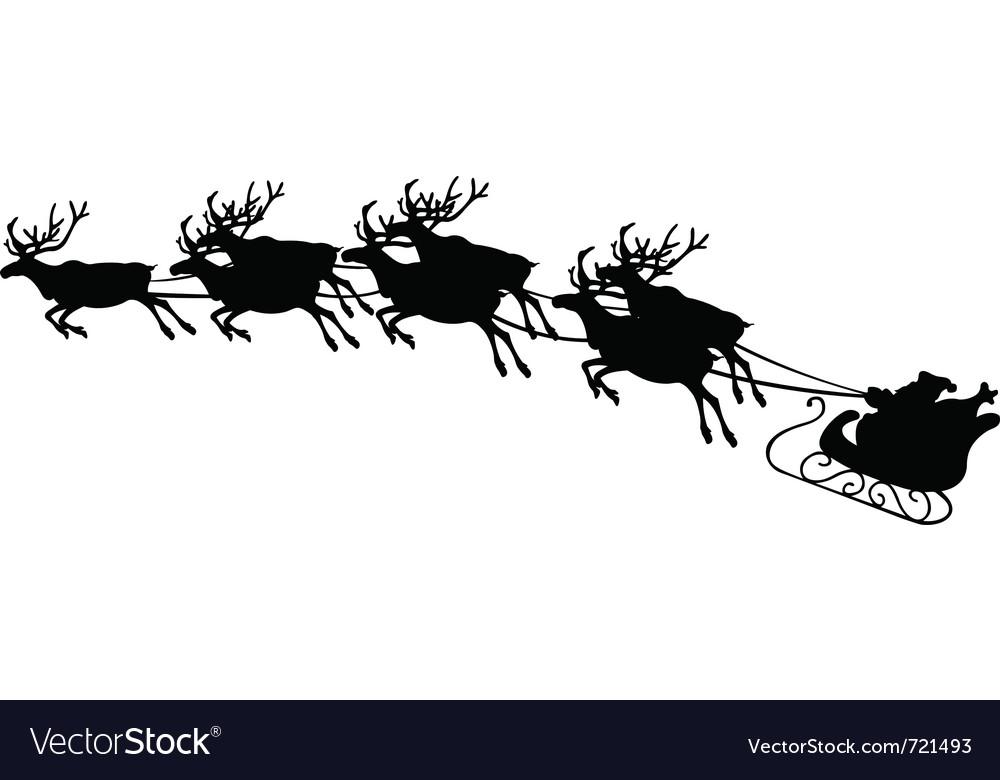 Of reindeer pulling santa sled vector | Price: 1 Credit (USD $1)