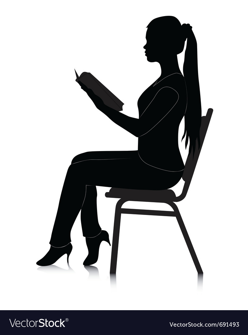 Reading girl silhouette vector | Price: 1 Credit (USD $1)
