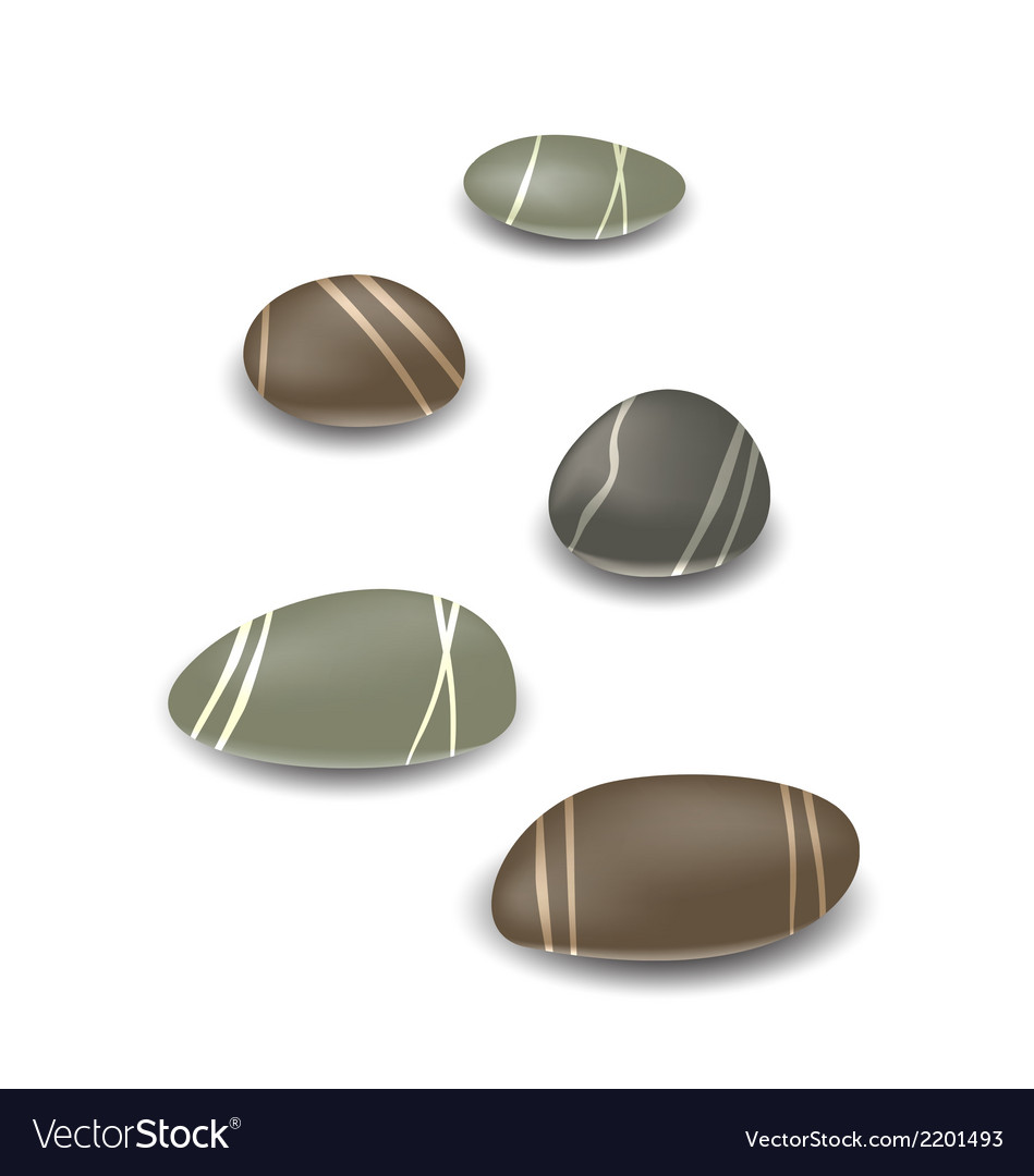 Sea pebbles collection with shadows on white vector | Price: 1 Credit (USD $1)