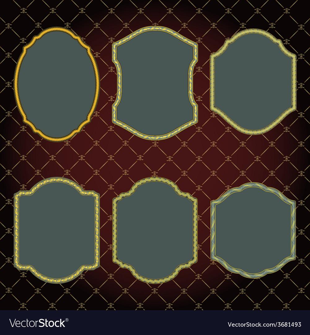 Set of design elements-golden vintage frames vector | Price: 1 Credit (USD $1)