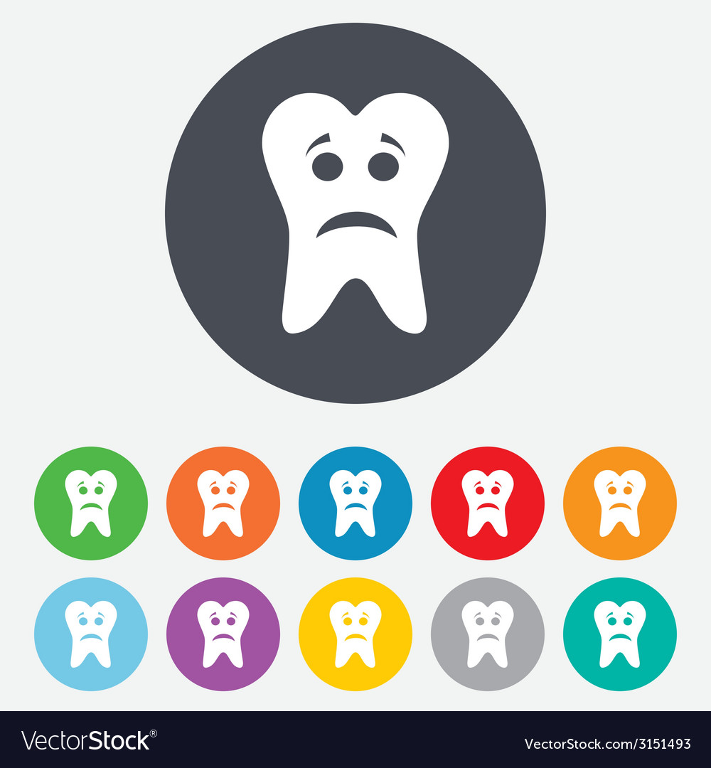 Tooth sad face sign icon aching tooth symbol vector | Price: 1 Credit (USD $1)