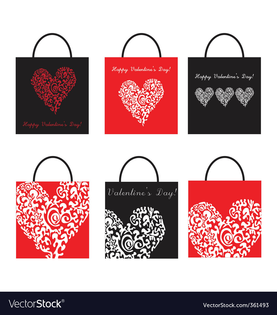 Valentine's day shopping bags vector | Price: 1 Credit (USD $1)