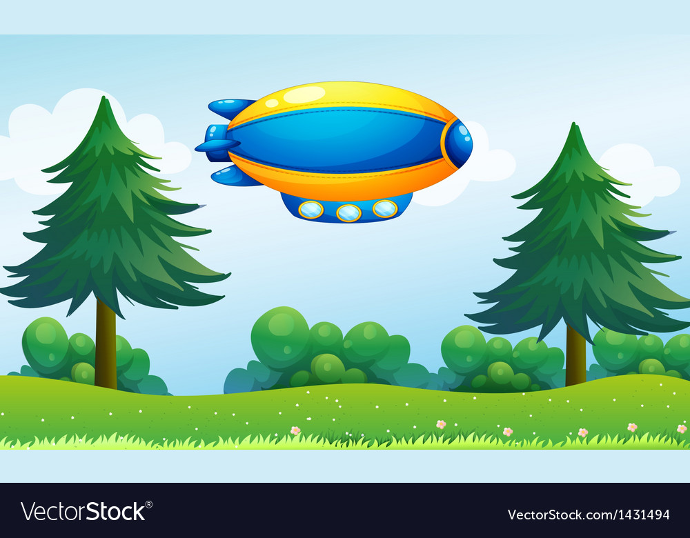 An airship near the hilltop vector | Price: 1 Credit (USD $1)