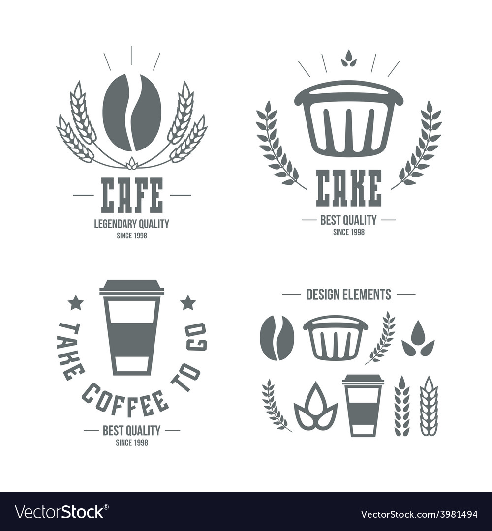 Cafe and cake emblems and icons vector | Price: 1 Credit (USD $1)