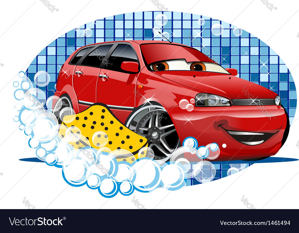 Car washing sign with sponge vector | Price: 3 Credit (USD $3)