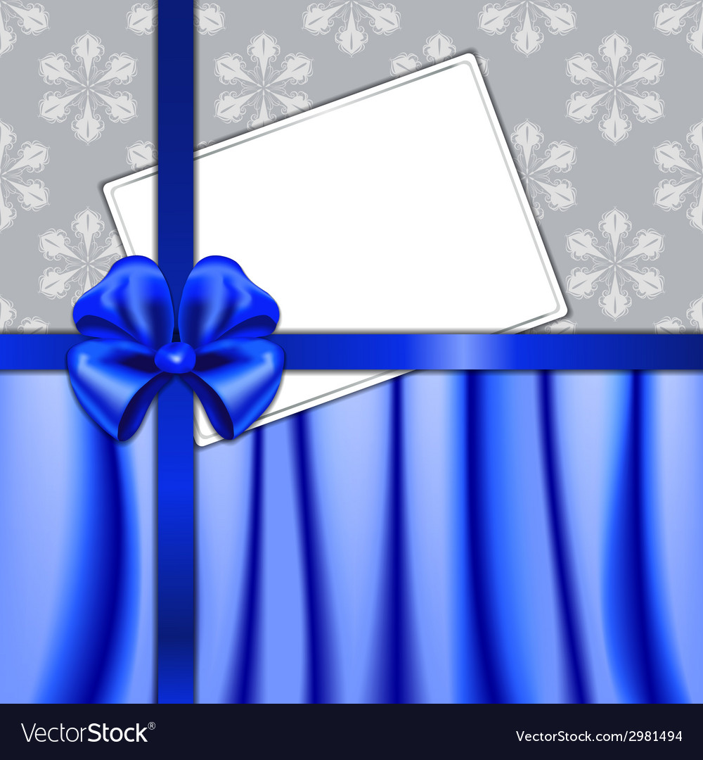 Christmas card with ribbon and textile vector | Price: 1 Credit (USD $1)