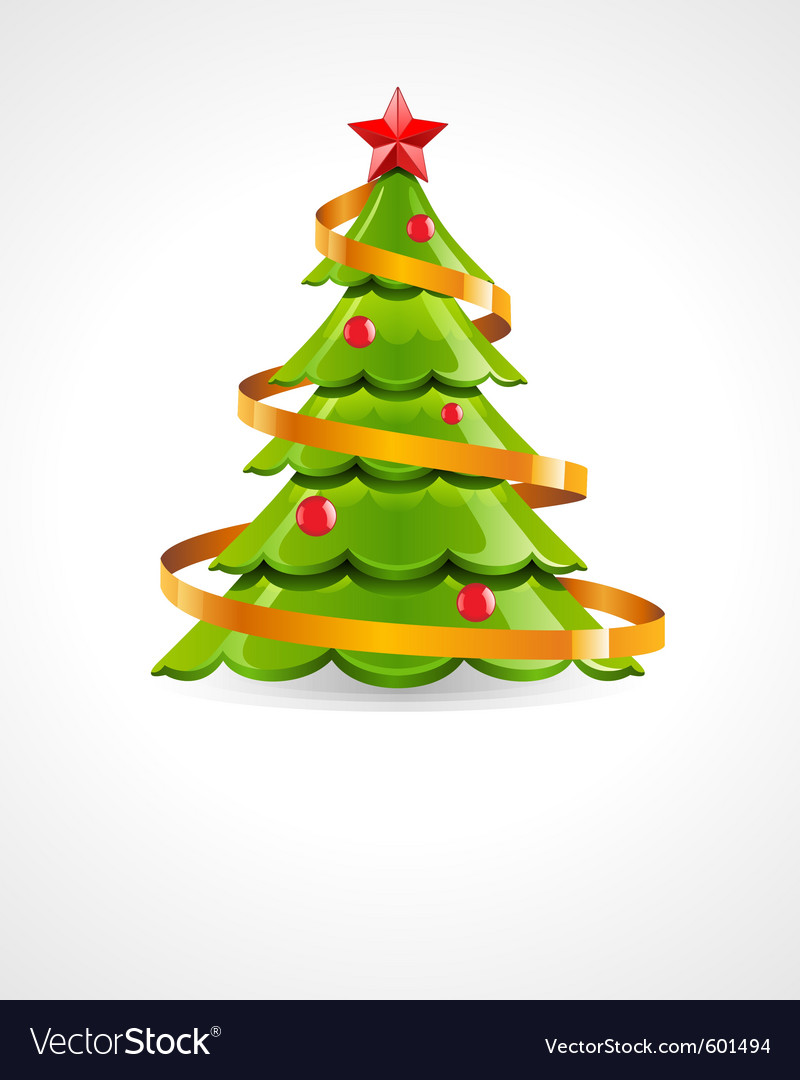 Christmas tree with red star vector   Price: 1 Credit (USD $1)