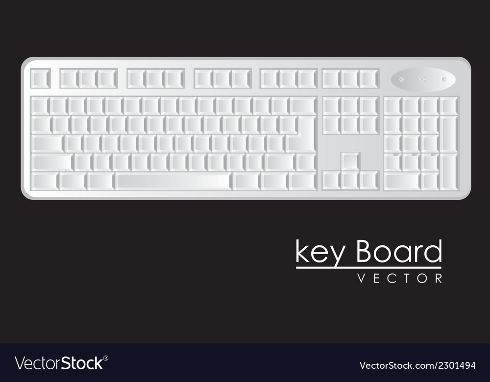 Computer keyboard to white with black letters vector | Price: 1 Credit (USD $1)