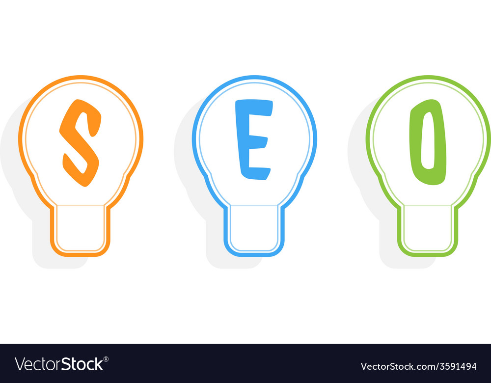 Concept of seo word combined with light bulb vector | Price: 1 Credit (USD $1)