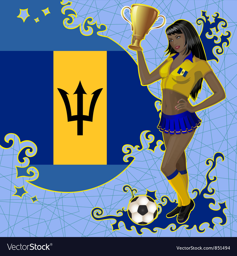 Football poster with girl and barbados flag vector | Price: 1 Credit (USD $1)
