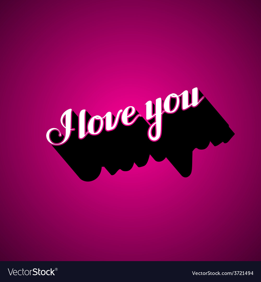 Handwritten i love you retro label vector | Price: 1 Credit (USD $1)