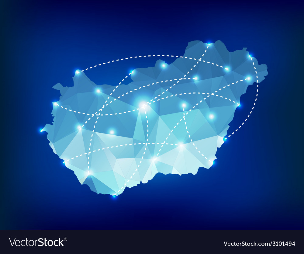 Hungary country map polygonal with spot lights vector | Price: 1 Credit (USD $1)