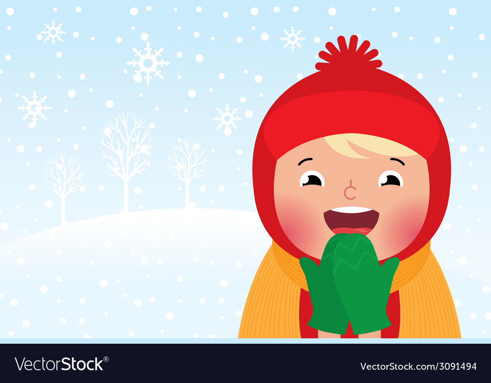 Kid enjoys the snow and winter vector | Price: 1 Credit (USD $1)
