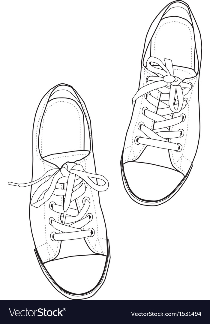 Outline sneakers vector | Price: 1 Credit (USD $1)
