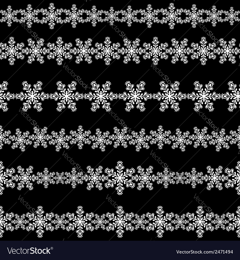 Set of seamless snowflakes borders vector | Price: 1 Credit (USD $1)