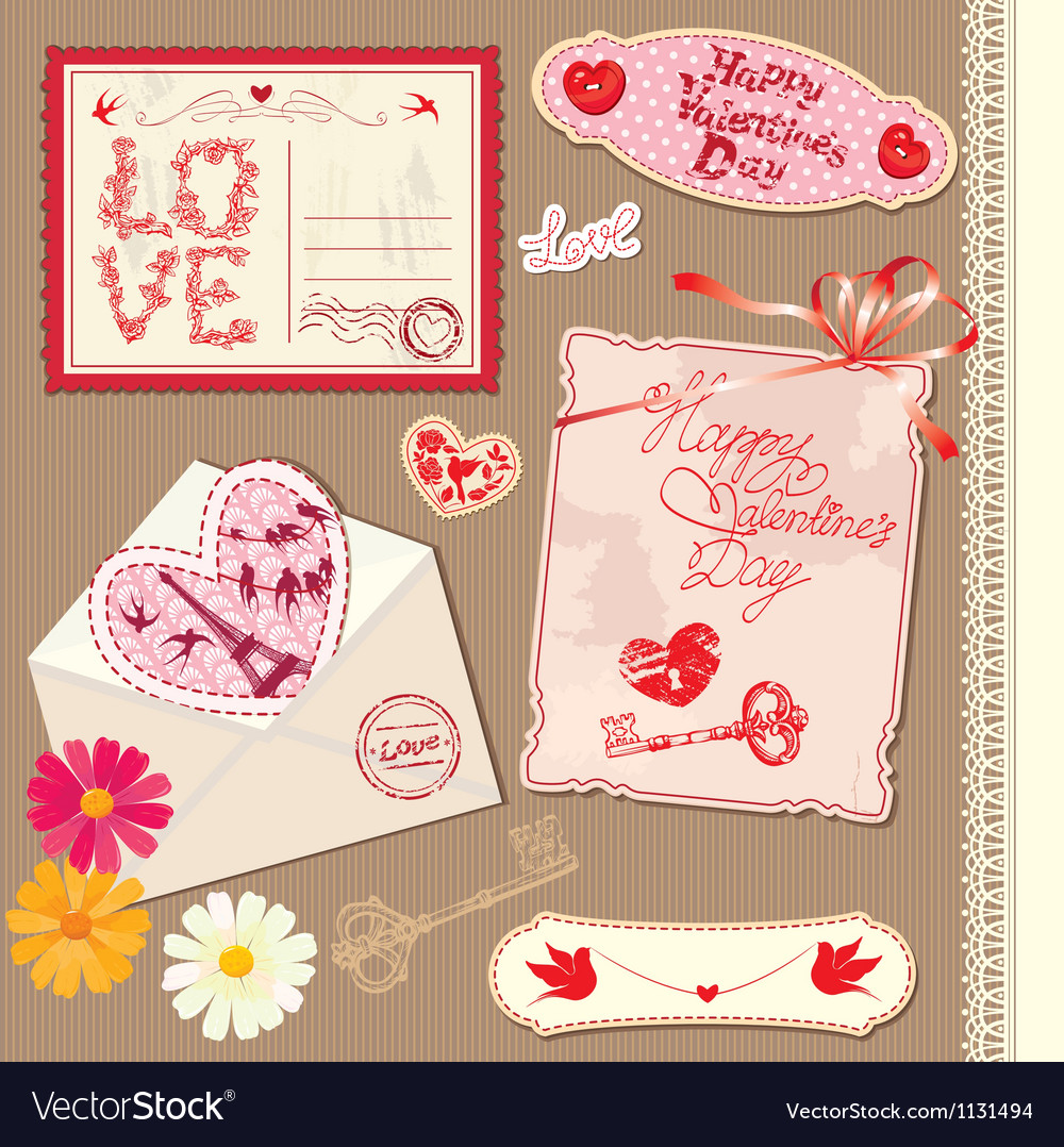 Set of vintage valentines day postcards vector | Price: 1 Credit (USD $1)