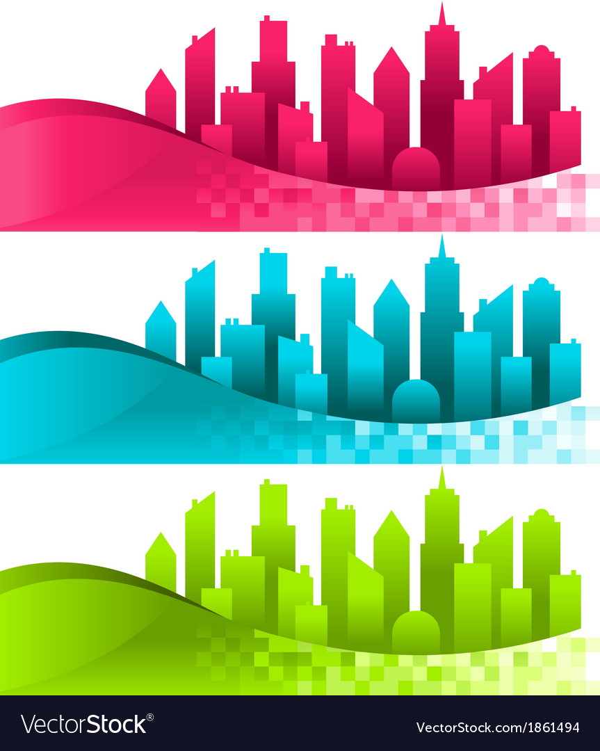 Silhouette cities and banners vector | Price: 1 Credit (USD $1)